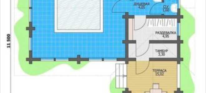 Проекты бань из бруса с бассейном