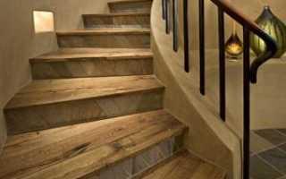 Отделка бетонных лестниц деревом